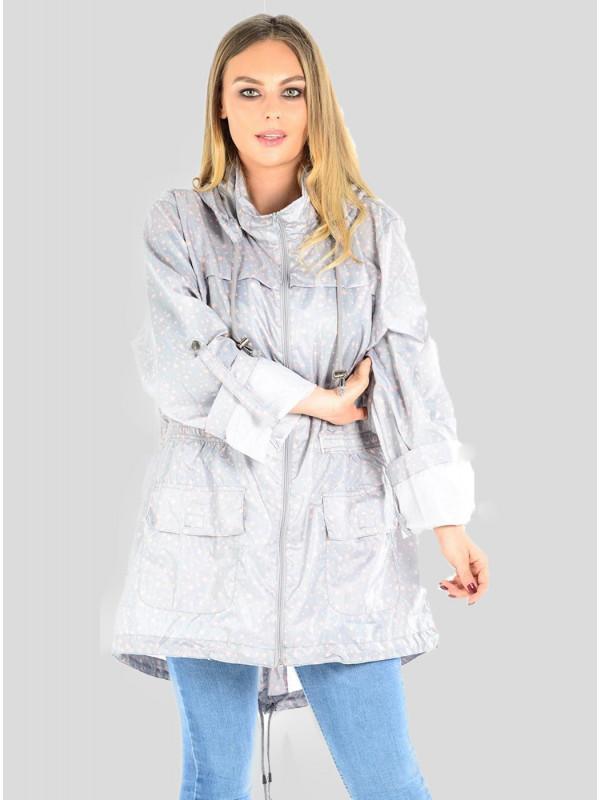 Nisa Plus Size Star Print Fish Tail Jacket 18-24