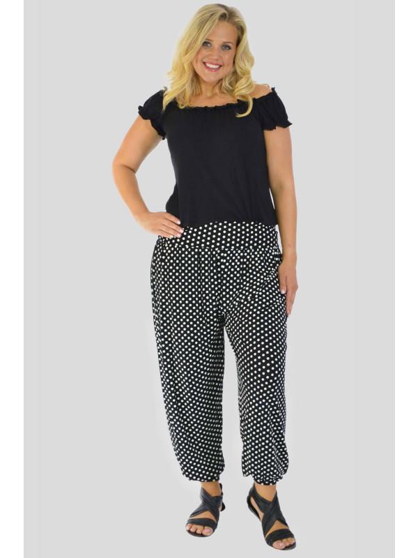 Noa Black Polka Printed Harem Trouser 12-14