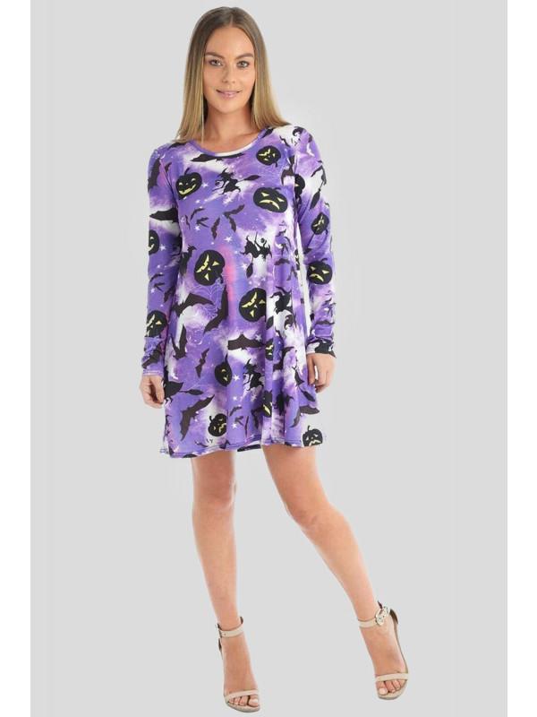 Oakley Plus Size Halloween Purple-Pumpkin Bat Print Swing Dress 16-26