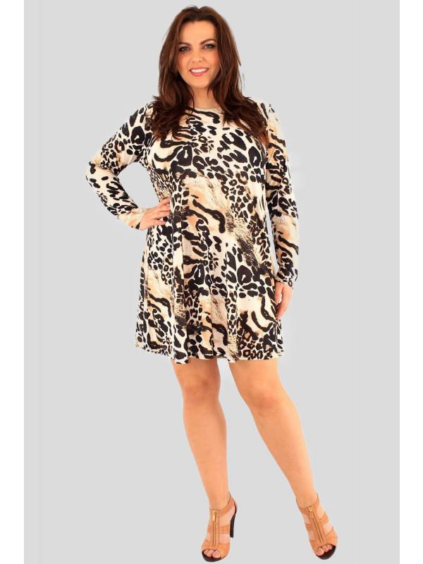 Olivia Plus Size Animal-Brown Swing Dress 16-24