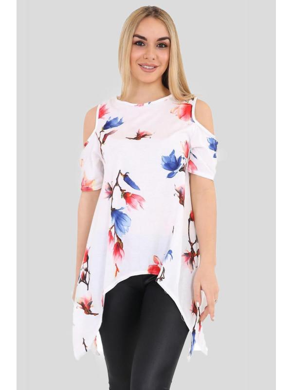 Olivia Cold Shoulder Hanky Hem White Blue Floral Tops 8-26