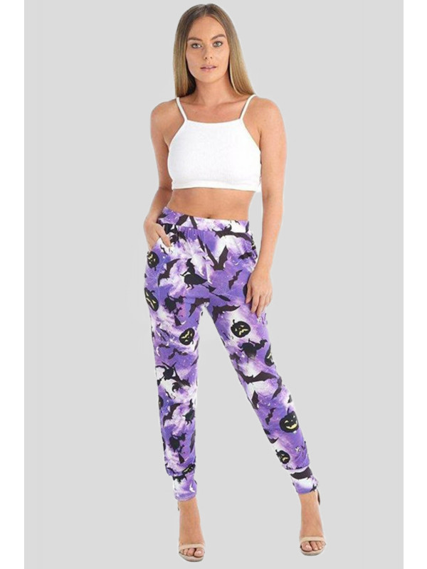Olivia Plus Size Pumpkin Bat Print Harem Trouser 16-26