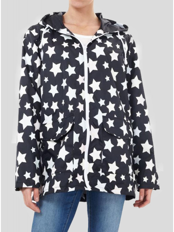 Olivia Plus Size Star Print Mac Raincoat 18-24