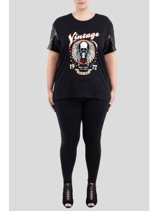 Paige Plus Size Vintage Band Skull Print T-Shirt 16-22