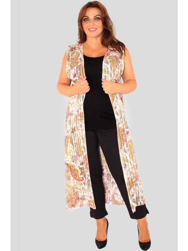 Phoebe Plus Size Paisley Chiffon Maxi Waistcoat 16-26
