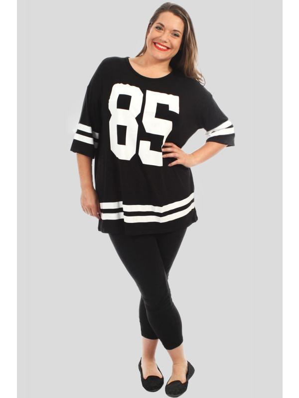 Poppy Plus Size Baseball Stripy 85 Number Over Size T-Shirts 16-26