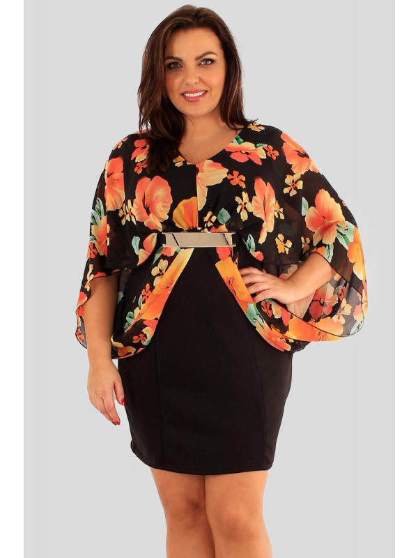 Rebecca Plus Size Black Chiffon Kimono Sleeve Top 18-24