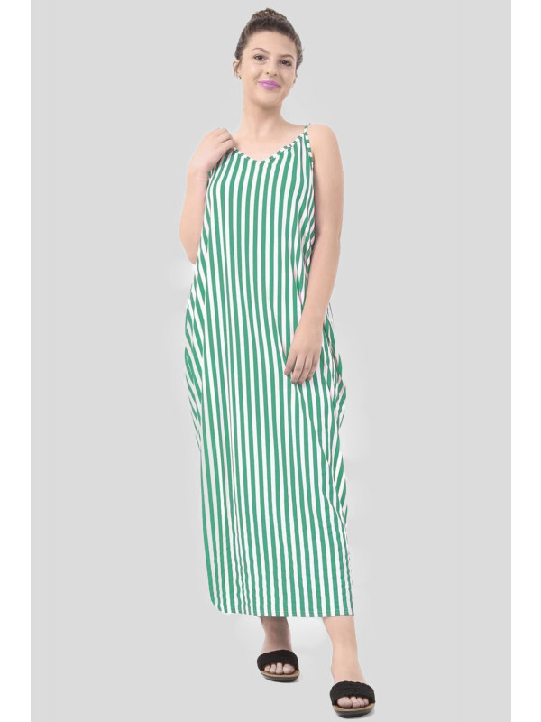 AISHAH Striped Italian Drape Lagenlook Long Maxi Dress 8-14