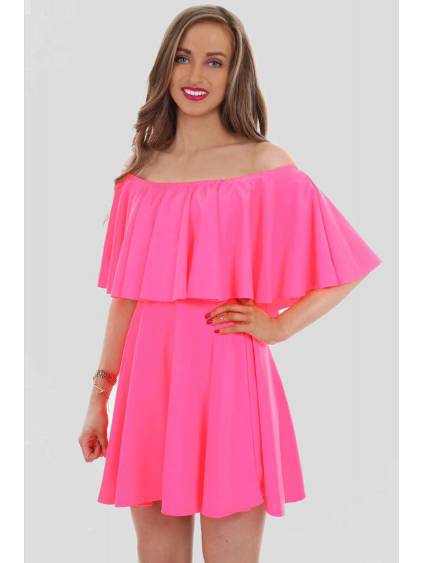 Romy Off Shoulder Peplum Frill Ponte Skater Dress 8-14