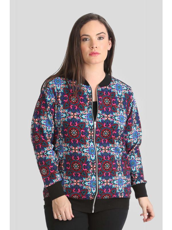 Kaya Plus Size Multicolor Paisley Print Bomber Blazer Jacket 16-28