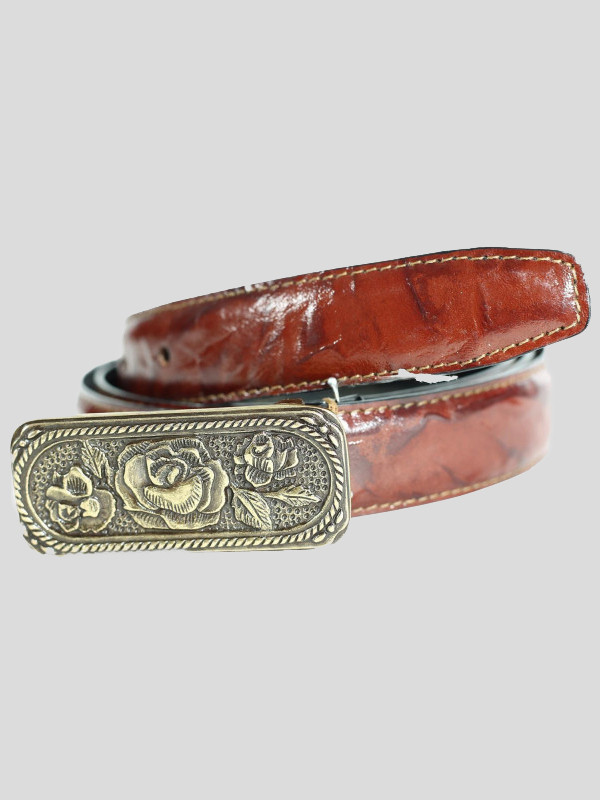 Rose Buckle Brown Tie Dye Genuine Leather Belts M-4XL