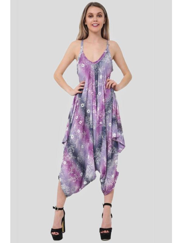 MAHNOOR Purple Floral Printed Lagenlook Jumpsuit 8-14