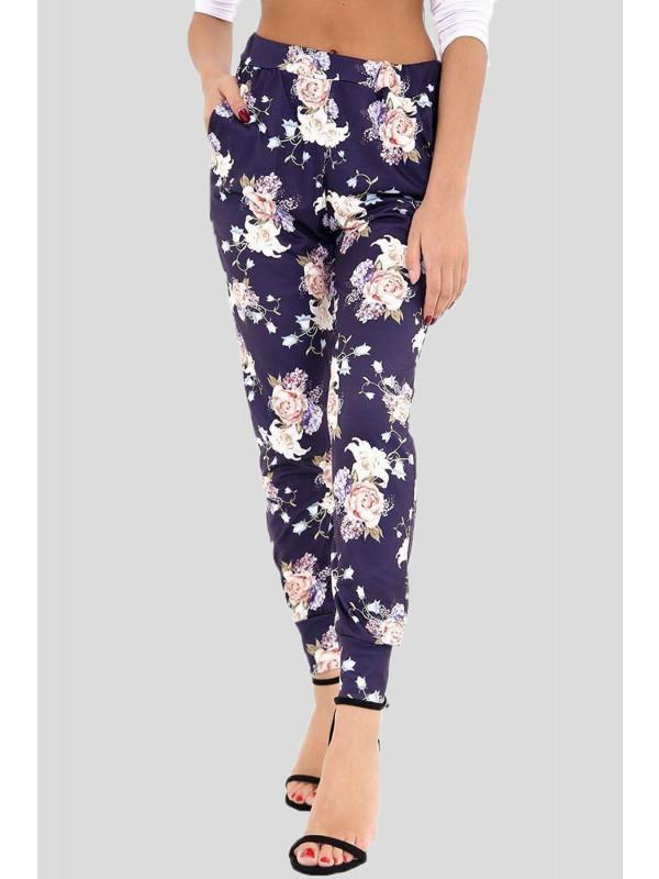 AMAYAH Rose Navy Floral Print Leggings 8-14