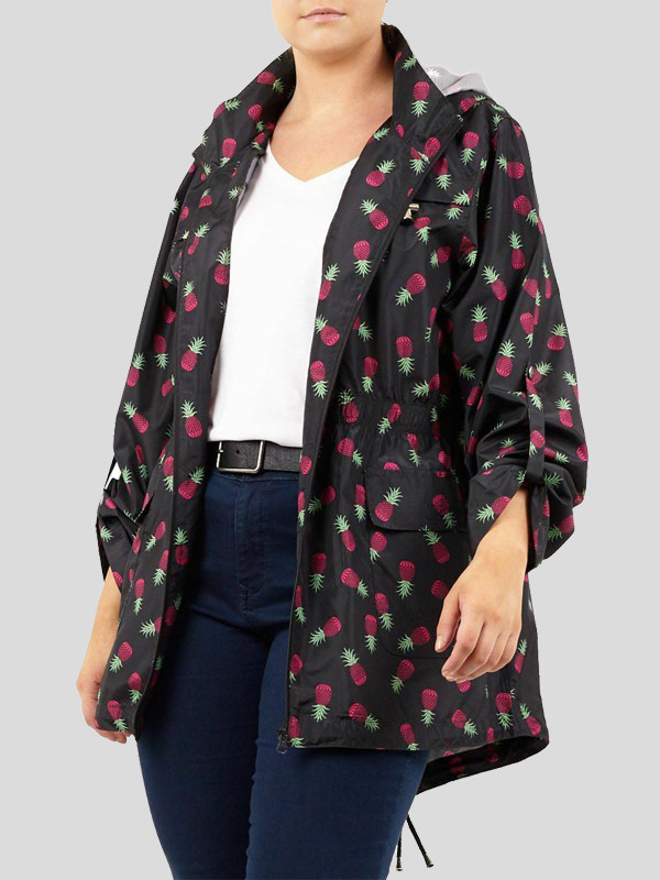 Scarlett Plus Size Pineapple Print Mac Showerproof Raincoat 18-24