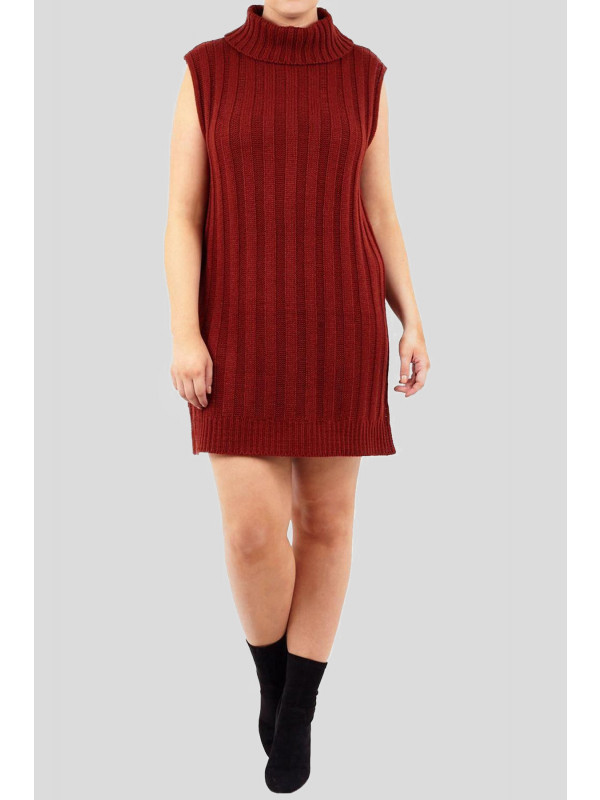 Amari Plus Size Sleeveless Neck Knit Pullover Jumper Dress 18-24