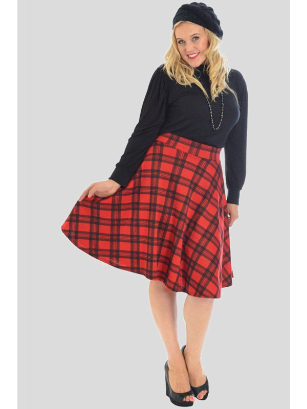 Lisa Plus Size Tartan Flared Skater Mini Skirts 16-28