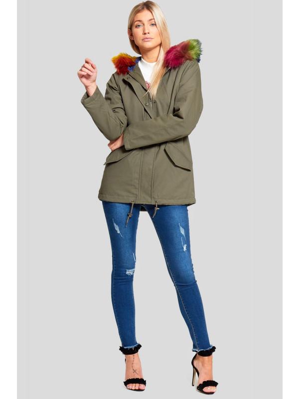 Tenley Rainbow Colour Faux Fur Hooded Jackets Coats 8-16