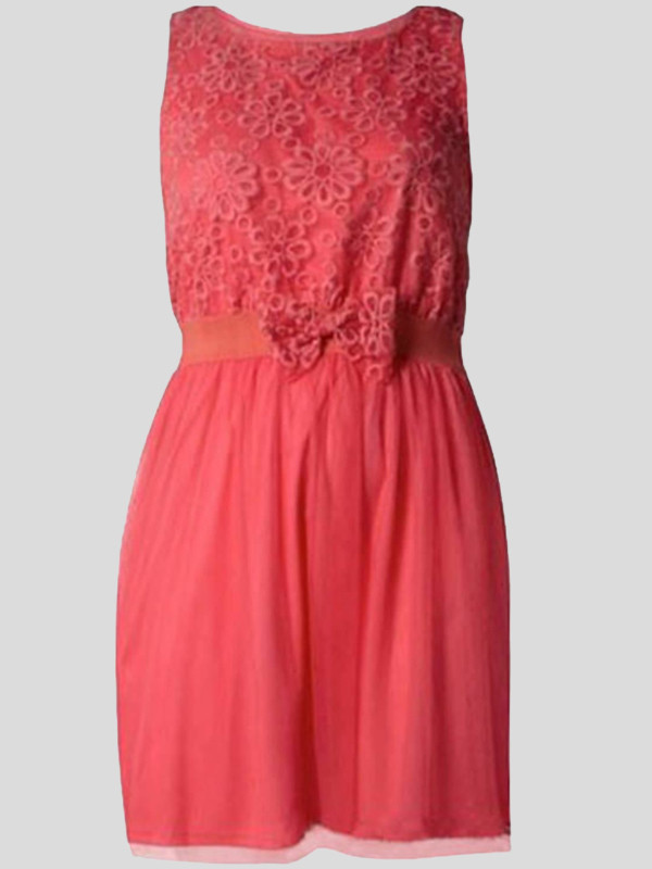 Tori Plus Size Fish Net Flower Bow Detail Party Dress 18-24