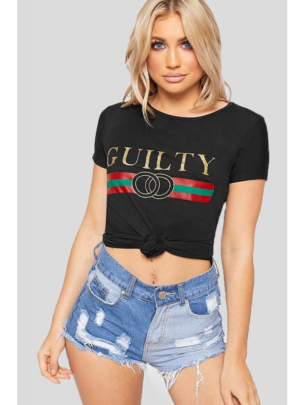 Lettice Guilty Slogan Print T-Shirts 8-14