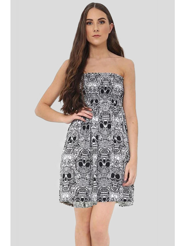 Gwendolyn Skull Bones Printed Sheering Boobtube Top 8-14