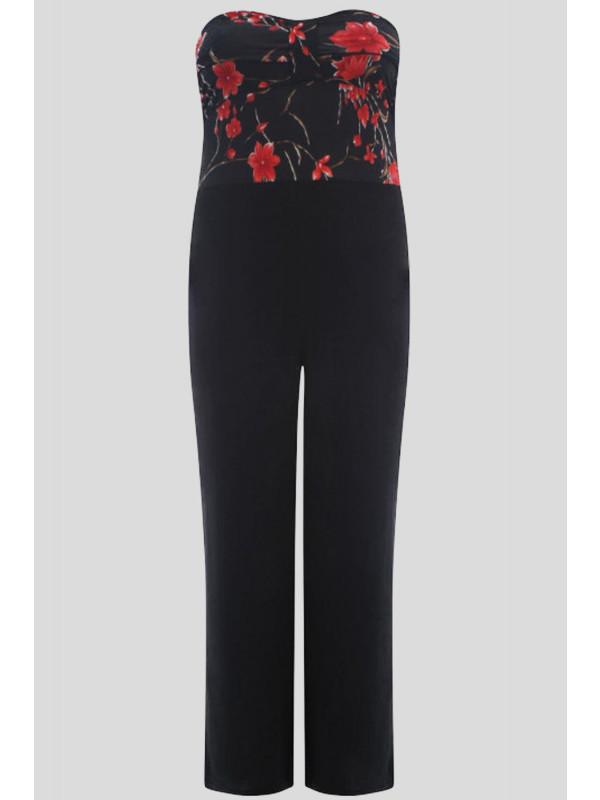 Jazzy Plus Size Boob Tube Knot Floral Jumpsuit Dress 16-26