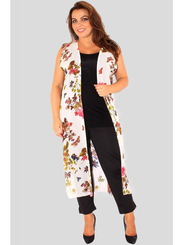 Zoe Plus size Cream Butterfly Chiffon Maxi Waistcoat 16-26