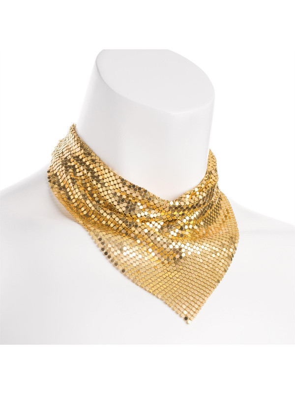 Ava Gold Color Chain Mail Design Metal Necklace