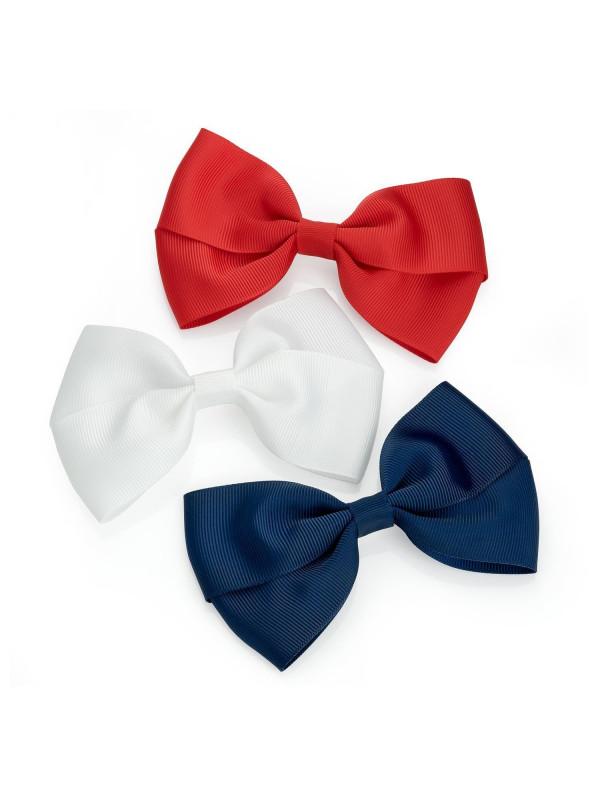 Aleah Womens Three Piece Plain Design Ribbon Bow Hair Clip