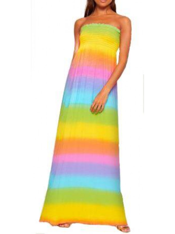 Nina Plus Size Rainbow Print Sheering Maxi Dress 16-24