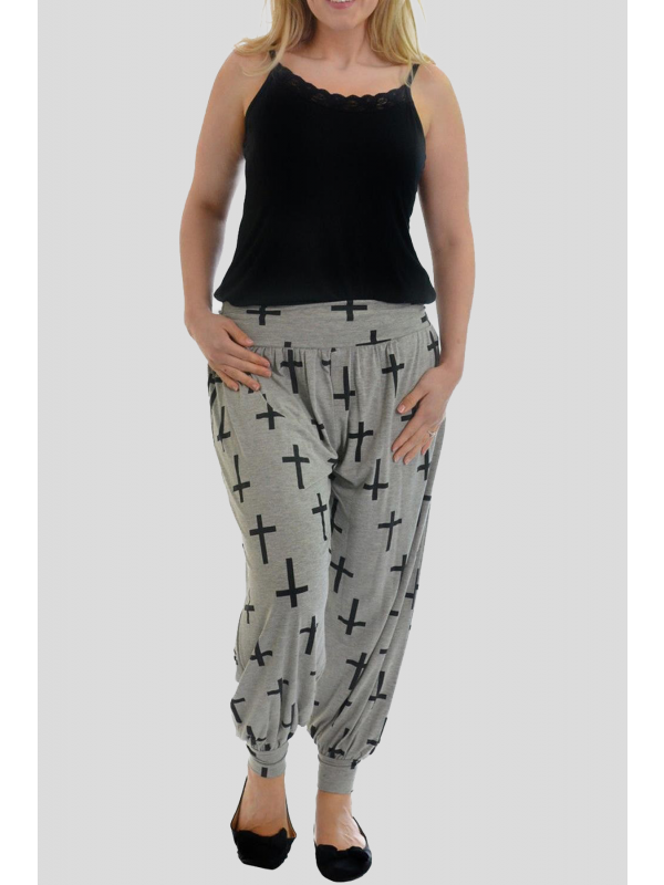 Cassie Grey Cross Printed Harem Trouser 12-26