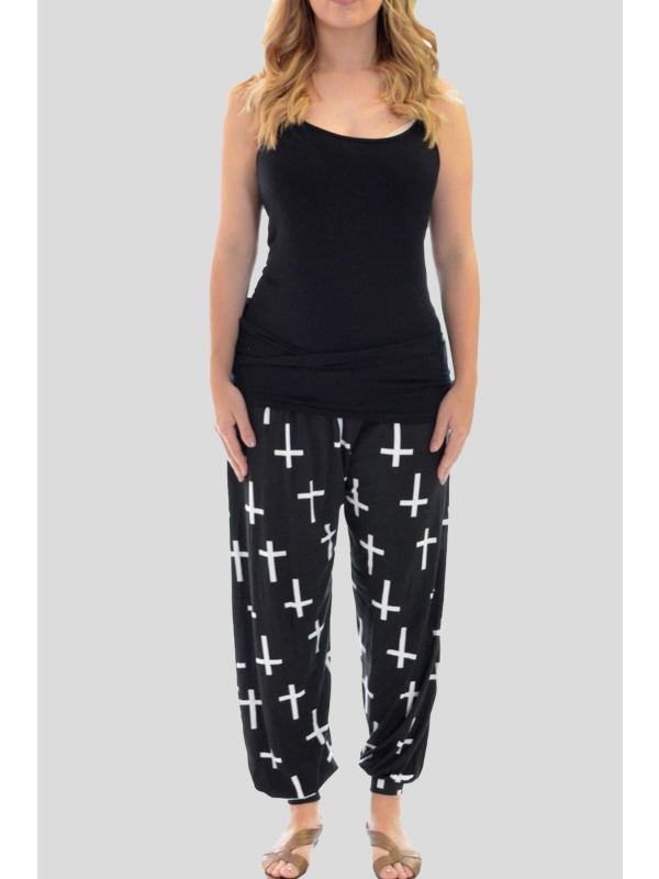 Lexi Black Cross Printed Harem Trouser 12-26