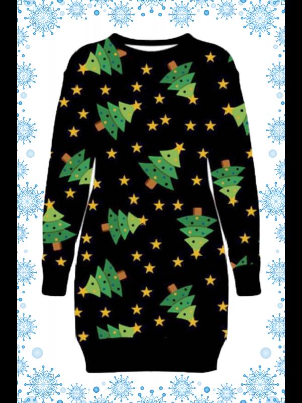 Aila Plus Size Star Xmas Tree Printed Xmas Jumpers 16-22