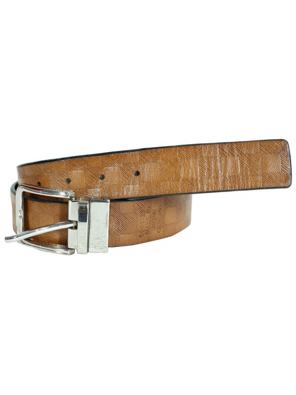 Nicholas Mens Squares Textured Genuine leather Belts S-3XL