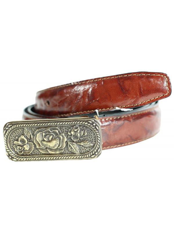Rose Womens Buckle Brown Tie Dye Genuine Leather Belts M-4XL