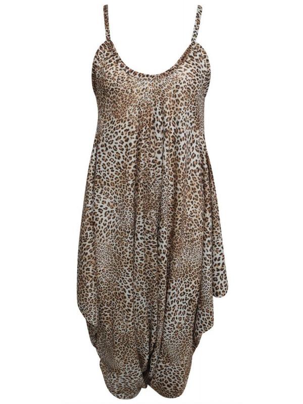 9b574311639 Sienna Plus Size Cheetah Baggy Harem Cami Jumpsuit 16-26