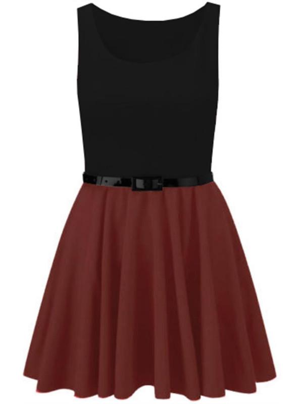 Enola 2-in-1 Sleeveless Flare Mini Dress Top 16-26