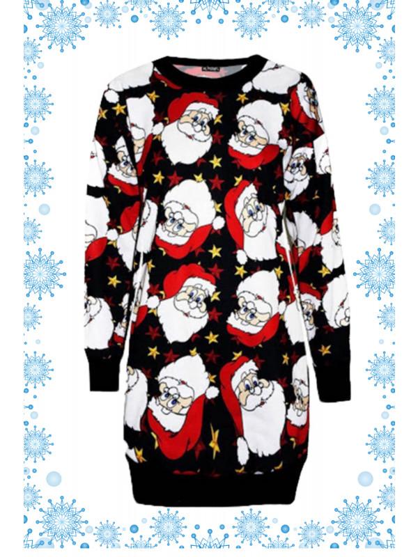 Asiya Plus Size Big Santa Face Printed Jumpers 16-22