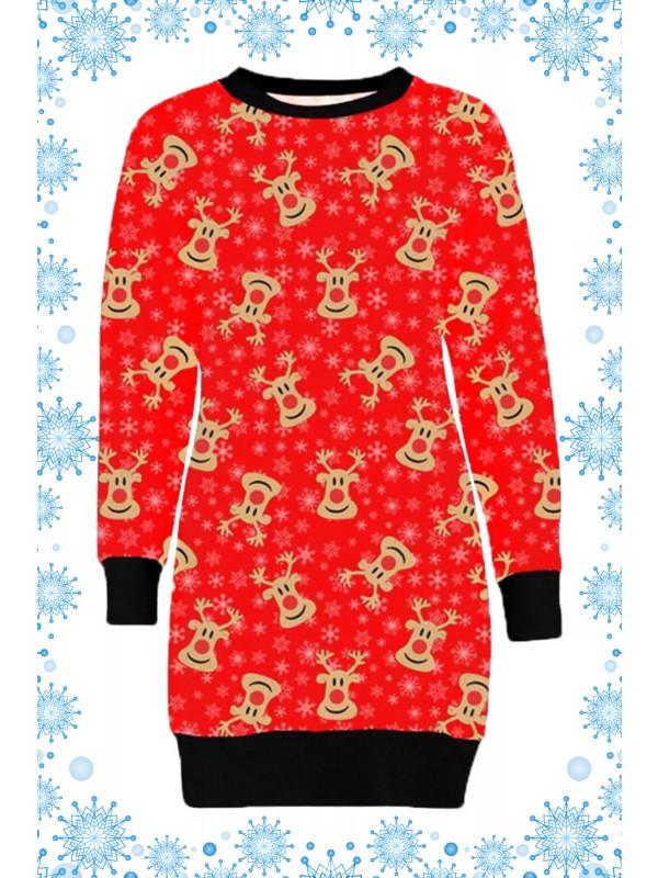 Siena Plus Size Red Snowflakes Reindeer Xmas Jumpers 16-22