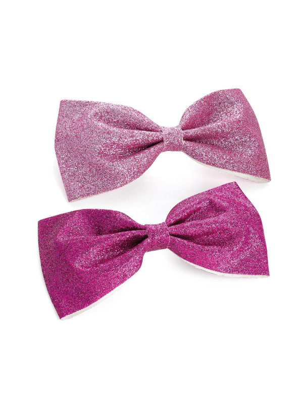 Ivanna Ladies Pink Two Piece Glitter Bow Hair Clips