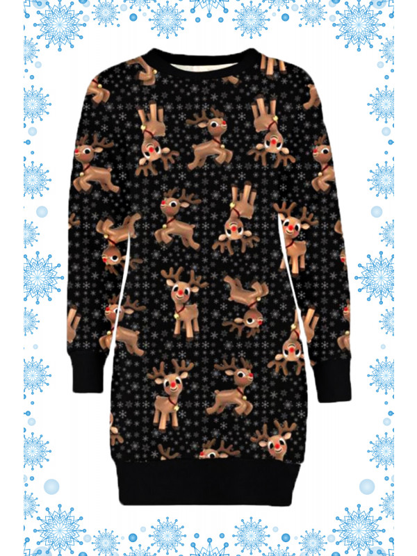 Eira Plus Size Black Rudolph Head Xmas Jumpers 16-22
