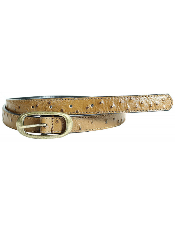 Lucy Womens Tan Antique Brass Buckle Genuine Leather Belts M-4XL