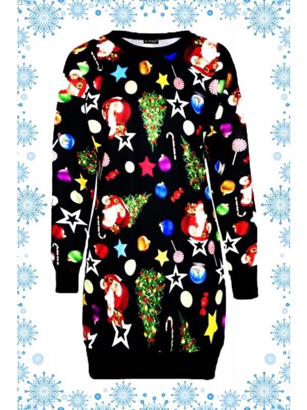 Holly Santa Xmas Stocking Gift Bag Printed Jumpers 8-14