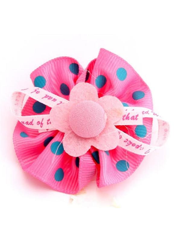 Bella Polka Dot Poppy Flower Girls Hair Clips