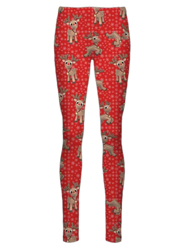 Aria Red Reindeer Flakes Xmas Leggings 8-34