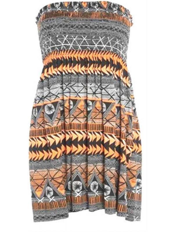 Abigail Orange Aztec Printed Sheering Boobtube Top 8-26