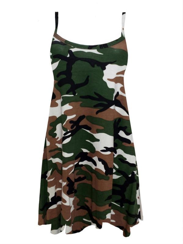 DOTTIE Green Army Print Swing Dress 8-14