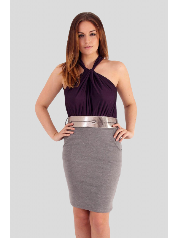 Tatiana Halter Neck Rope Tie Belted Office Dress  8-14