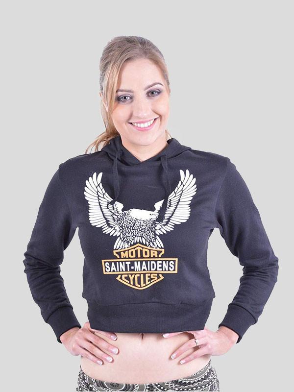 Sarah Eagle Motor Cycle  Print Sweatshirt Hoodie Crop Top 8-14