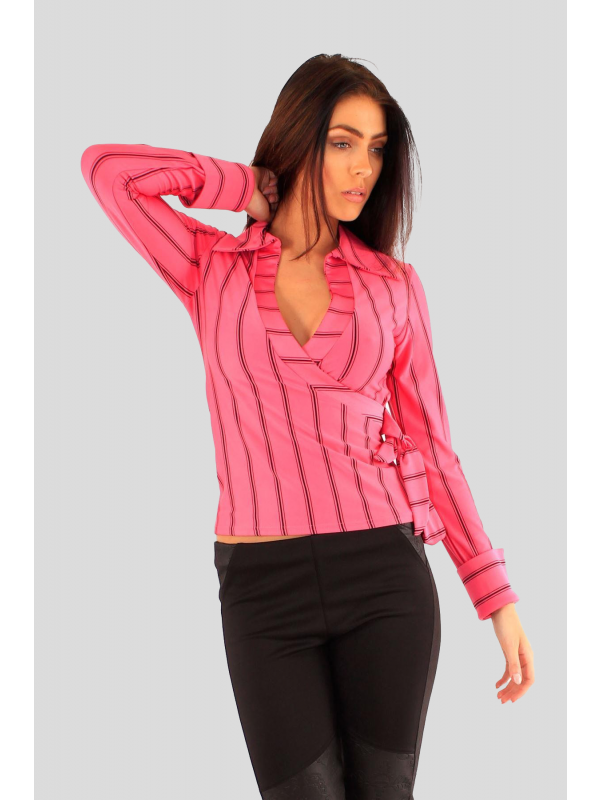 Cadence Wrap Over Long Sleeve Stripy Shirt Top 8-14