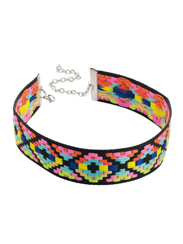 Rhonwen Bright Tone Tribal Print Choker Necklace